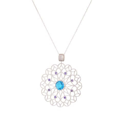 Net Moon Mandala Pendant - Sterling silver, violet crystal and blue crystals