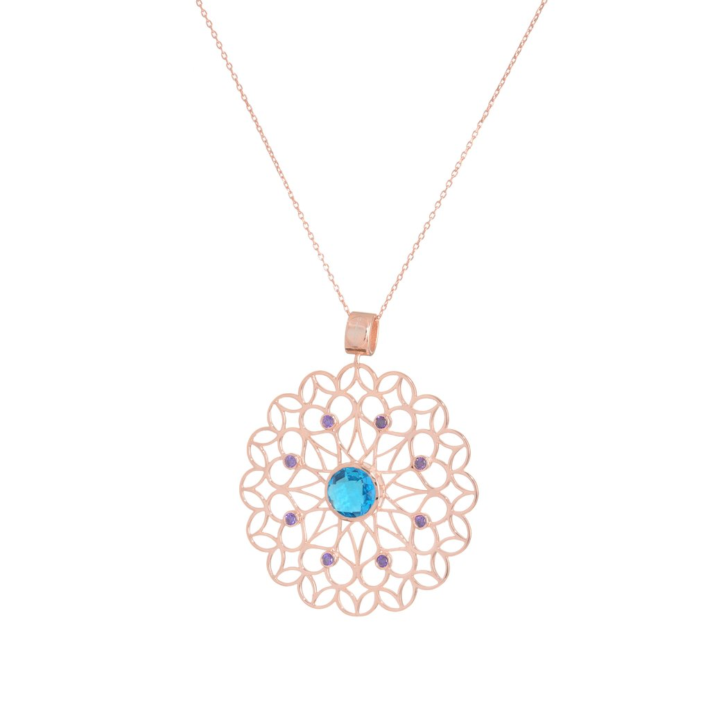 Rose Gold Plated Moon Mandala Pendant