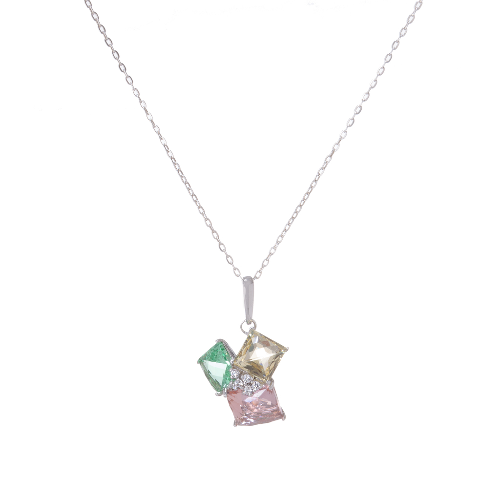 Sterling Silver Crystal Trio Pendant
