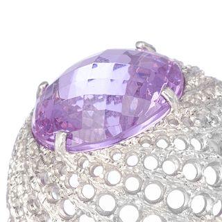 Meteorite Ring - Silver with violet crystal on internet