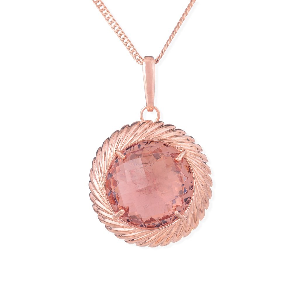 Circle Pendant - Sterling silver plated in rose gold with Salmon crystal