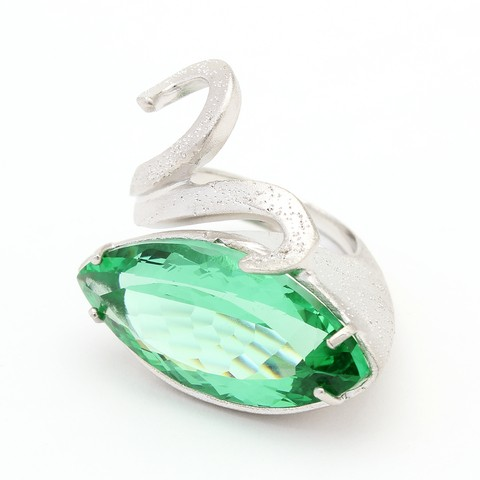 Sterling silver Swan Ring designed with green crystal