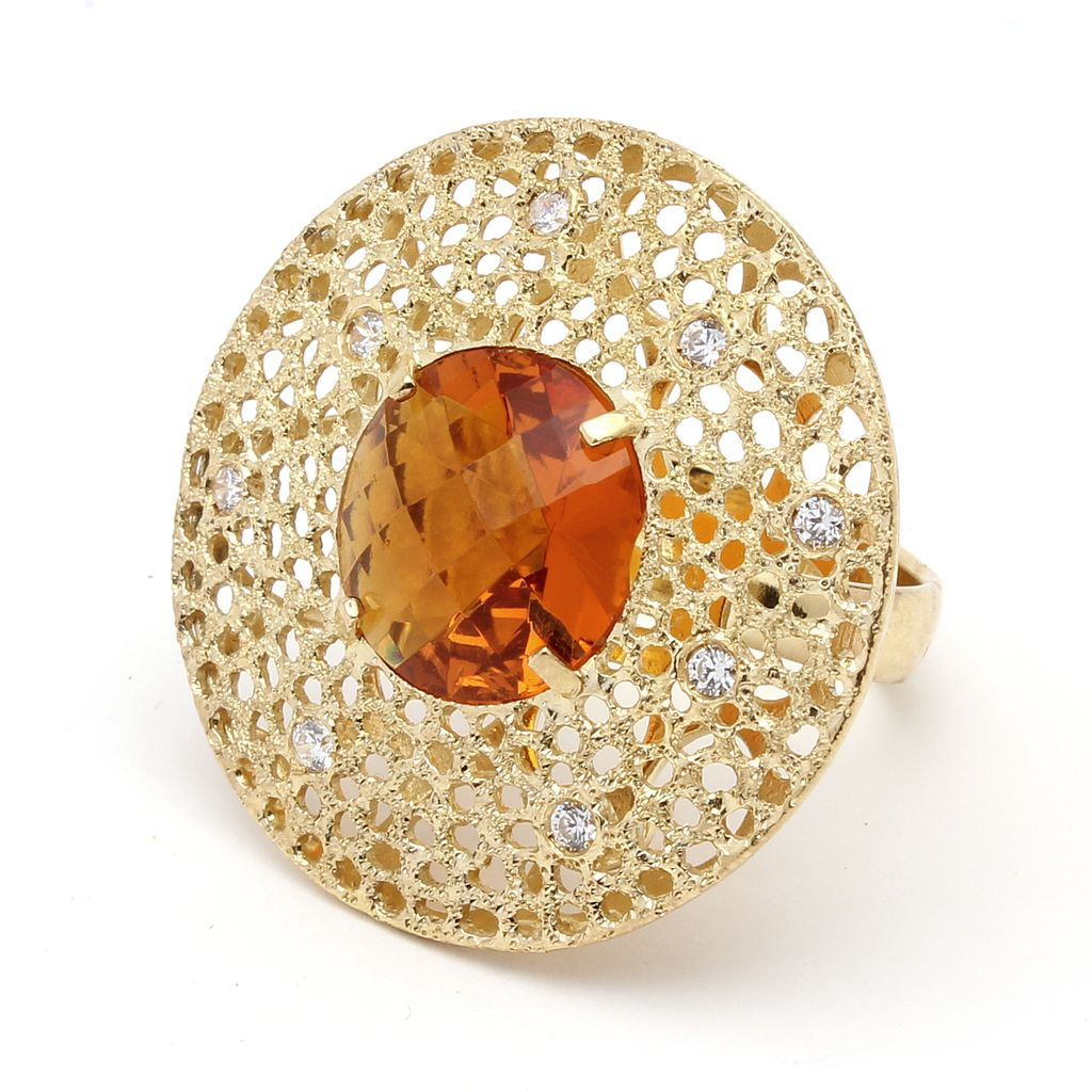 Cosmo ring, Sterling silver with gold plated and amber crystal