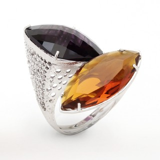 Mystic Ring sterling silver, violet and champagne crystals - buy online