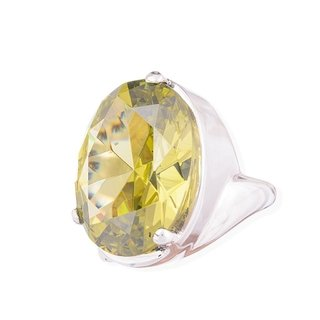 Oval Ring Sterling silver with lemon crystal