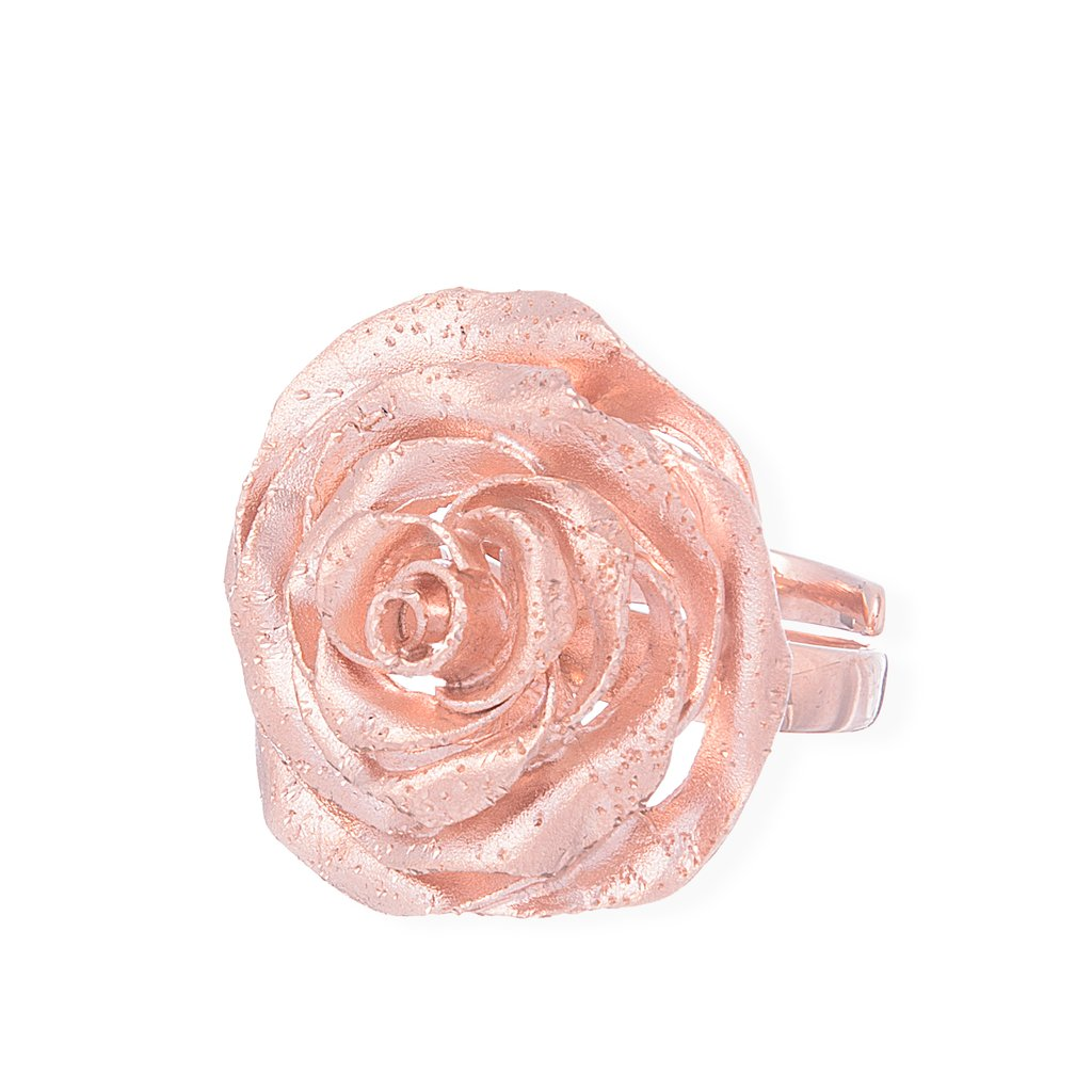 Sterling Silver, Rose Gold Plating Rose Ring