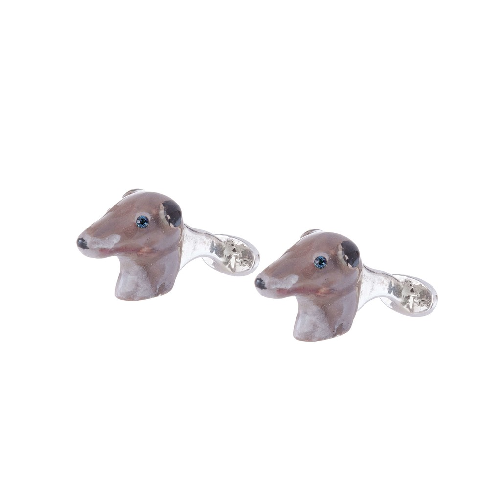 Greyhound Cufflinks in Sterling Silver with cold enamels and crystals - buy online