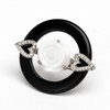 18 Kt Yellow Gold Saint Valentine Ring designed with white coral, diamonds and onyx - buy online