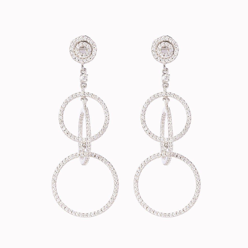 18 Kt White Gold and Diamond Circular Drop Earrings