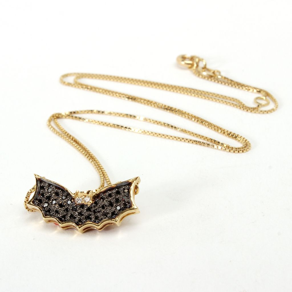 18 Kt Yellow Gold Bat Pendent Designed with Black Diamonds