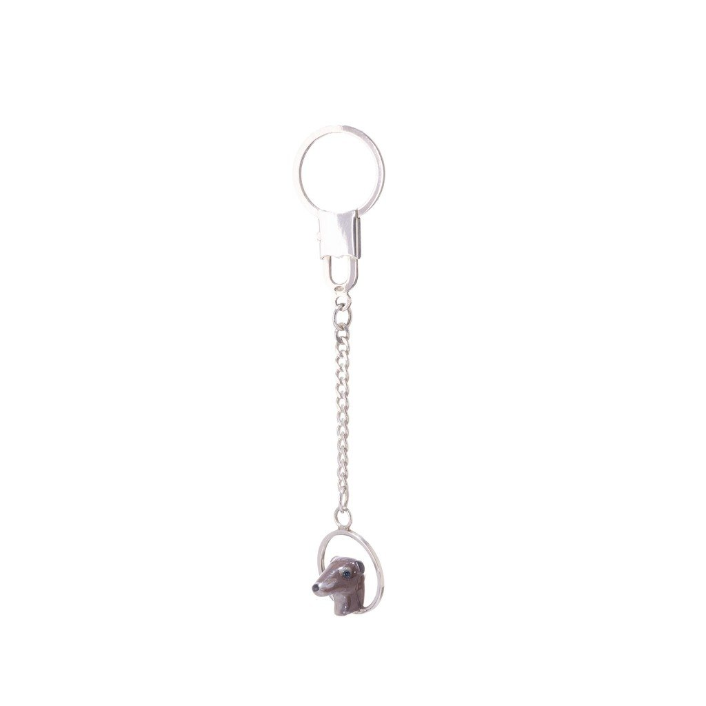 Sterling Silver Greyhound Key Chain designed with Crystals