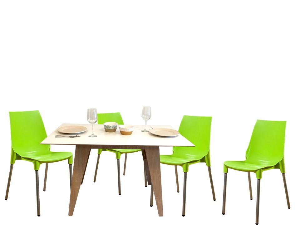 Juego de comedor mesa juana encastrable con cuatro sillas for Comedor cuatro sillas