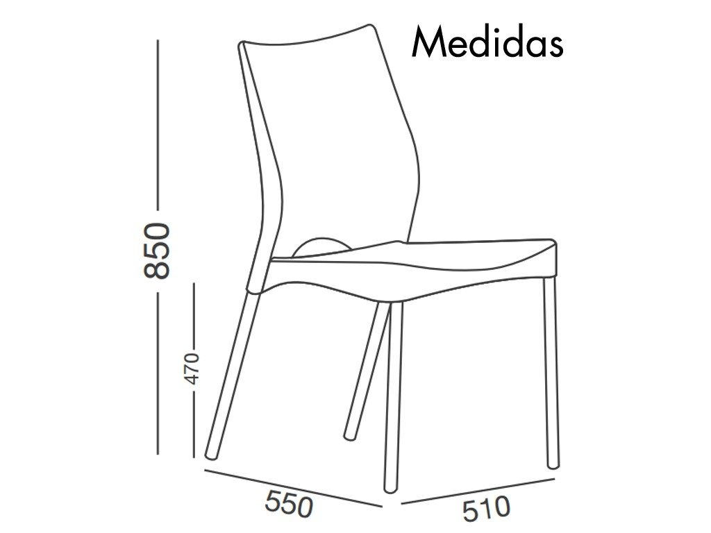 Combo mesa lupe 4 sillas malba para exterior con patas de aluminio - Medidas silla ...