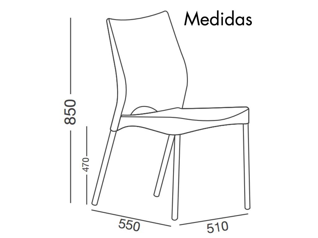 Combo mesa lupe 2 sillas malba para exterior con patas for Medidas silla comedor