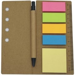 Eco Libreta  4 Post-it chicos 1 Post-it grande con boligrafo y regla
