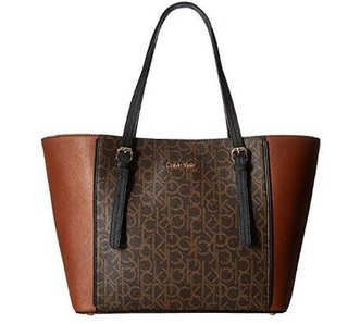 Bolsa Calvin Klein Women's Key Saffiano Tote Brown/Khaki/Luggage/Black Handbag