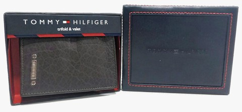 Carteira Tommy Hilfiger Trifold & Valet - Marrom