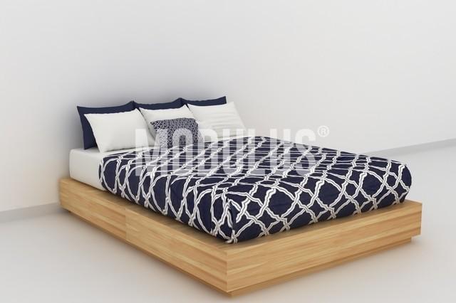 Cama clasica cajonera enchapada respaldo modulus for Tarimas de madera para cama