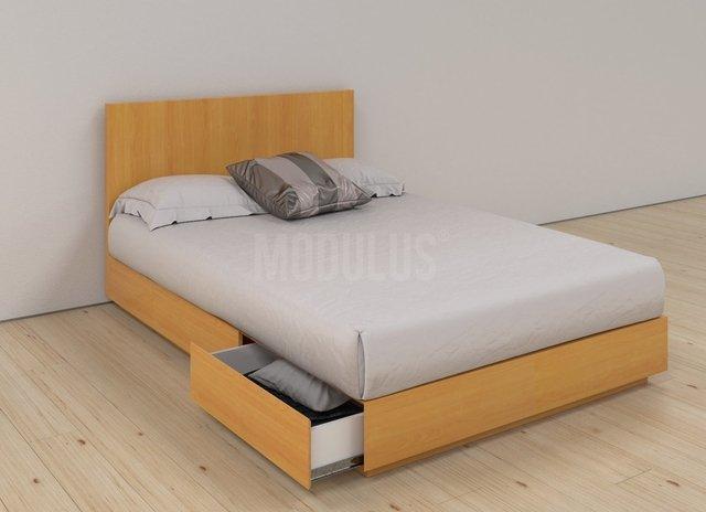 cama tarima enchapada 2 pz con cajones respaldo
