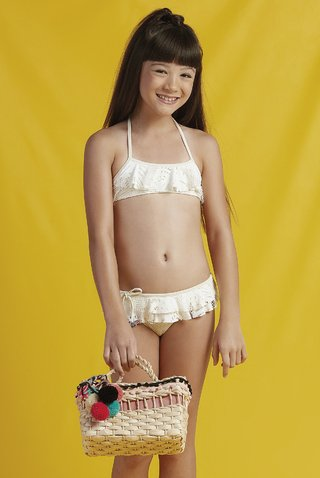 biquini cropped renda off white infantil lala 835116 new beach