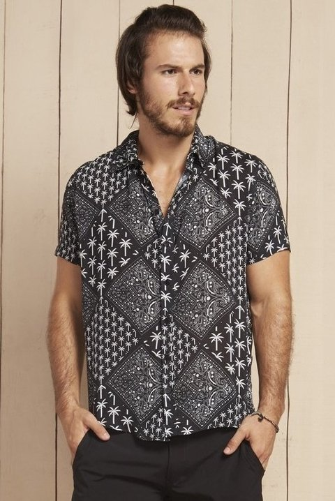 CAMISA JOHNNY HAWAI ESTAMPADA 040082 - BLUEMAN