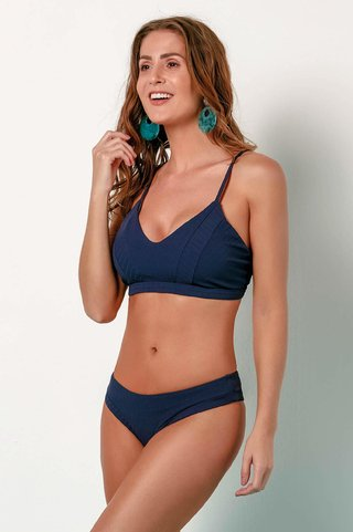 biquini canelado top com recortes azul lisa 838122 new beach