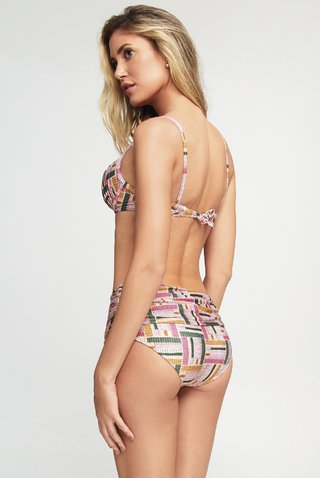 biquini meia taça hot pants estampado franzido 948104 new beach