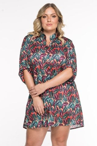camisa plus size curta estampada 6071 maryssil