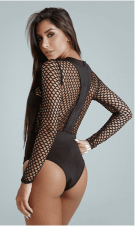 Body preto Neoprene Giovana 637236 - New Beach