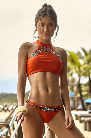 biquini cropped halter top bordado laranja 847155 new beach