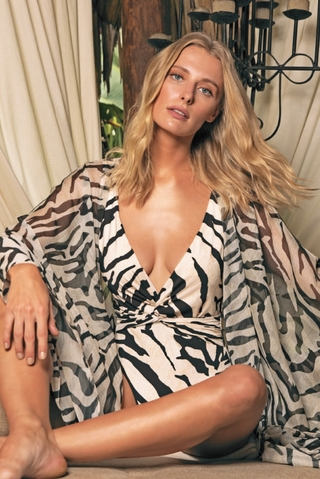 kaftan longo animal print 6020513 r do sol