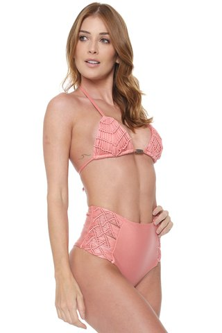 biquini trio cortininha macrame rosa bella 847123 new beach