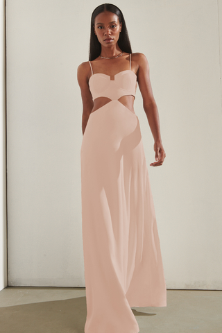 vestido longo cut out malibu rose 701606 inti