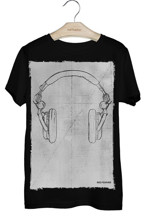 Camiseta Masculina Headphone Preta