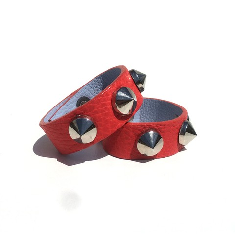 Ultra Studded Bracer Triple Conic Red