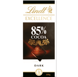 Lindt®, tablet excellence 85% cocoa 100 g.