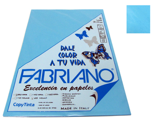 Papel Fabriano Copy Tinta 80 grs. A 4 Blister x 20 u. color Cielo
