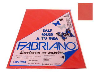Papel Fabriano Copy Tinta 80 grs. A4 Blister x 20 u. color Rojo