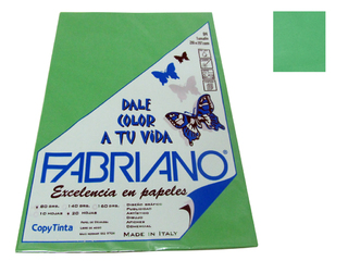 Papel Fabriano Copy Tinta 80 grs. A 4 Blister x 20 u. color Verde
