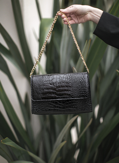 CARTERA GIGI CROCO BLACK GOLD - PRE VENTA-