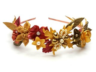 Vincha Gold Flowers - por pedido