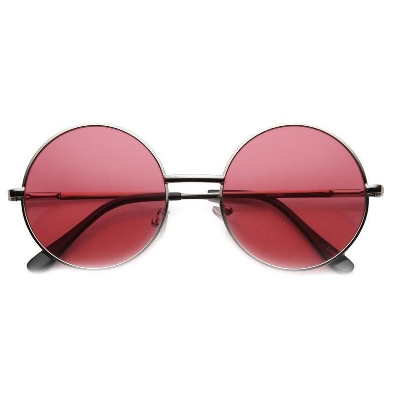 2aaa25a2ab2d8 Oculos de sol retro redondo em tamanho medio e lente vermelha - sunnie red  john