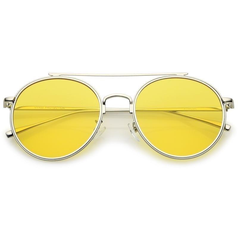 a442db2a12211 Oculos de sol aviador em armacao de metal e lente amarela - sun glasses