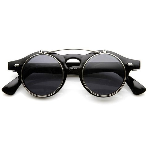 Oculos de sol redondo retro lente movel flip up - vegas sunglasses