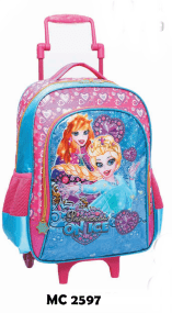 MOCHILA INF FEM C/CARIINHO REF MC2597 PRINCESS ON ICE - VOZZ COD 14016