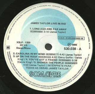 James Taylor - Live In Rio [LP] - 180 Selo Fonográfico