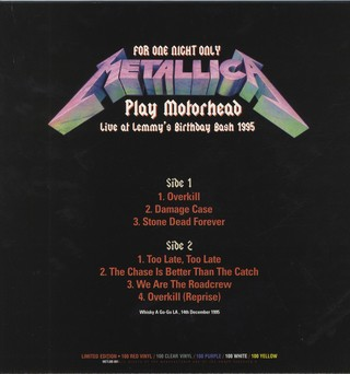 Metallica - For One Night Only Play Motorhead: Live at Lemmy's Birthday Bash 1995 [LP] na internet