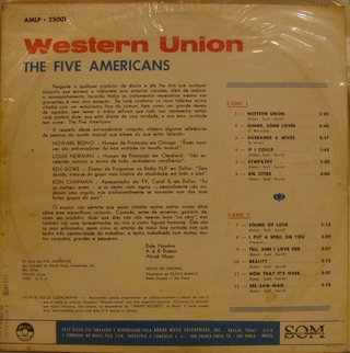 The Five Americans ‎– Western Union Sound Of Love [LP] - comprar online
