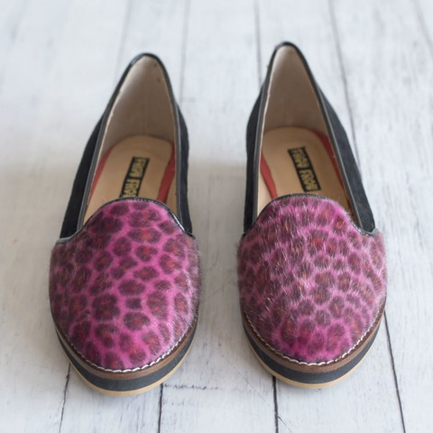 black leather animal print pink hair slippers flat shoes platform black low heel sole non-slip super comfortable handmade