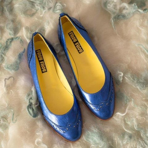 blue leather flats women